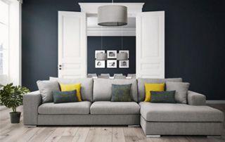 canapé d'angle tissu gris