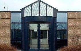 double porte vitrée avec profilés pvc bleu foncé
