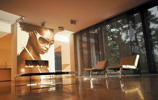 intérieur moderne avec stores japonais noirs