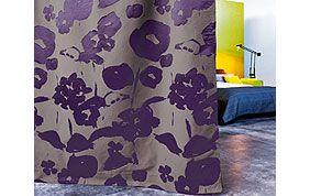 rideau violet à fleurs
