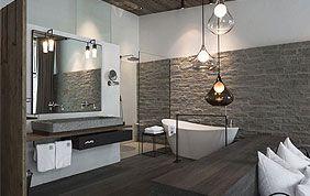 aménagement salle de bain avec murs en pierre naturelle