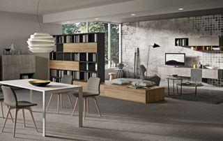 salon avec meubles suspendus sur mesure