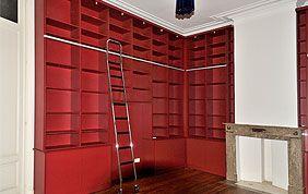 bibliothèque sur mesure rouge