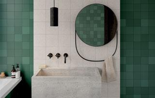 carrelage vert pour salle de bain
