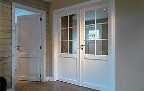 Double porte intérieure en bois blanc et verre