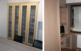 étagère vitrée et bureau sur mesure