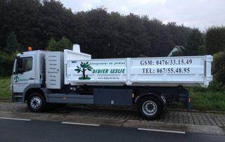 camion benne du jardinier Didier Leslie