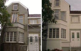 Avant/après peinture sur façade