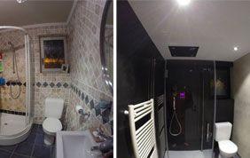 remplacement reve^tement mural salle de bain avant après