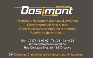 Carte De Visite Christophe Dosimont Peintre A Namur