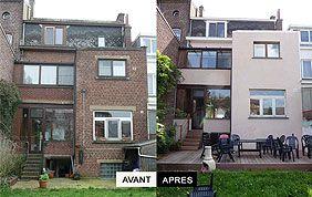 avant-après restauration de façade, construction de terrasse, etc.