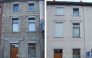 Peinture de façade avant après