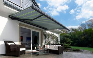 tente solaire rayée gris et vert