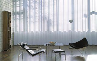 salon design avec rideaux translucides