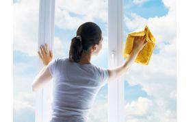 Aide-ménagère qui nettoie une vitre