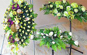 couronnes et bouquets de fleurs funéraires