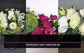 montages fleurs en soie