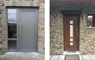 portes extérieures en PVC et bois de noyer