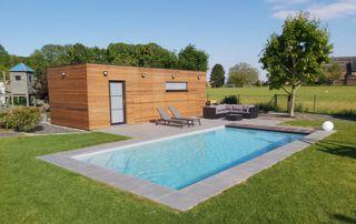 piscine avec poolhouse en bois