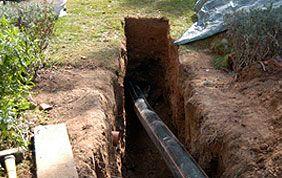 Ouverture de tranchée pour réparation de canalisation