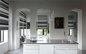 stores cuisine rayés gris, blanc et noir