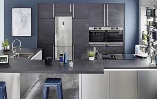 cuisine moderne avec plan de travail en béton