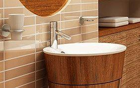 nouveau lavabo avec revêtement en bois