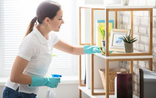 femme de ménage faisant les poussières