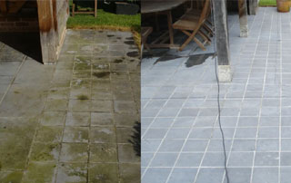 sol en pierre avant et après nettoyage