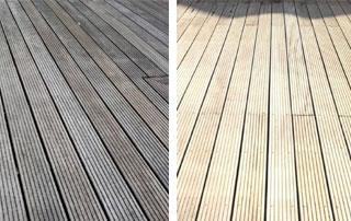 traitement sol en bois avant/après
