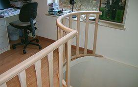 rampe en bois sur mezzanine