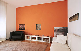 peinture murale orange salon