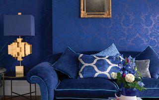 papier peint bleu salon