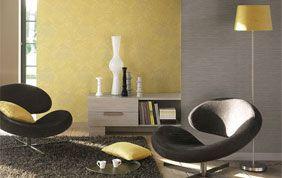 déco intérieur : papier peint jaune et gris