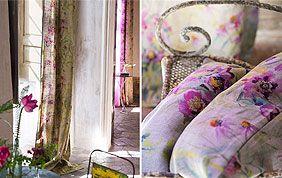 tissu à fleurs pour rideaux et coussins
