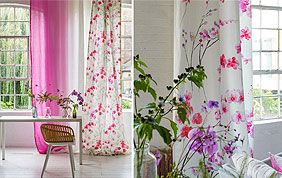 Voilage et tenture motif floral