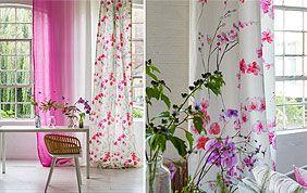 rideau rose et blanc fleuri