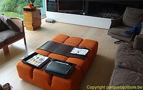 salon moderne avec sol en bois