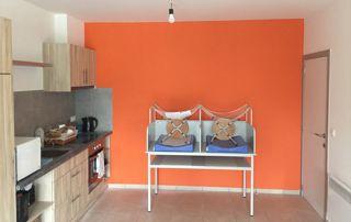 peinture murale orange