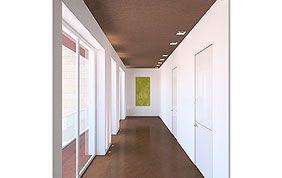 Couloir peint en marron et blanc