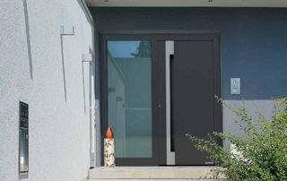 Porte entrée vitrée grise
