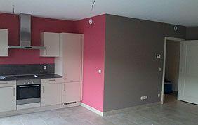 peinture mural cuisine rose et gris