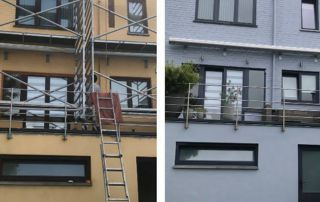peinture façade en crépi avant après