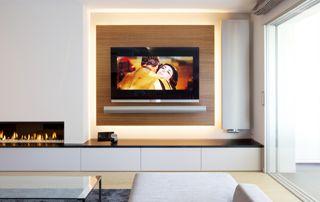 salon avec grand écran plat