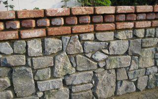réalisation de muret en briques