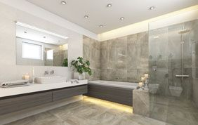 salle de bain en carrelage gris