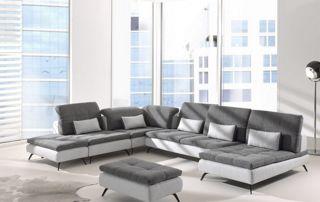canapé d'angle bi matière en tissu beige clair