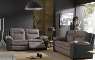 fauteuils gris en cuir deux et trois places