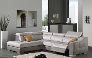 canapé en tissu 6 places avec pouf et table de salon
