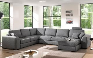 Canapé angulaire blanc effet velour avec tapis